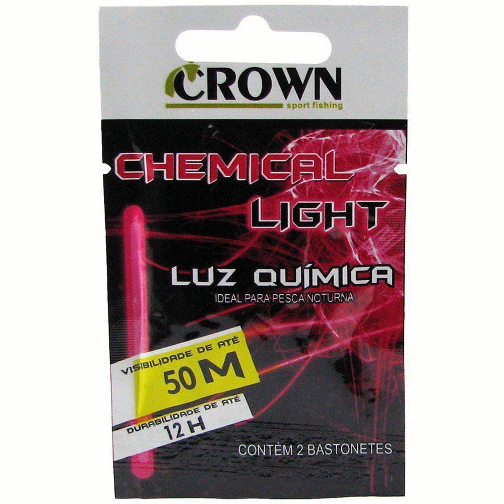 Luz Química Crown P/ Pesca 4,5 x 39mm Pink - Cartela C/2 Peças