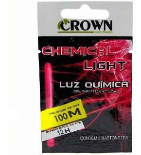 Luz Química Crown P/ Pesca 6,0 x 50mm Pink - Cartela C/2 Peças