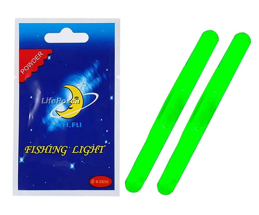 Luz Química Crown P/ Pesca 6,0 x 50mm Verde - Cartela C/2 Peças