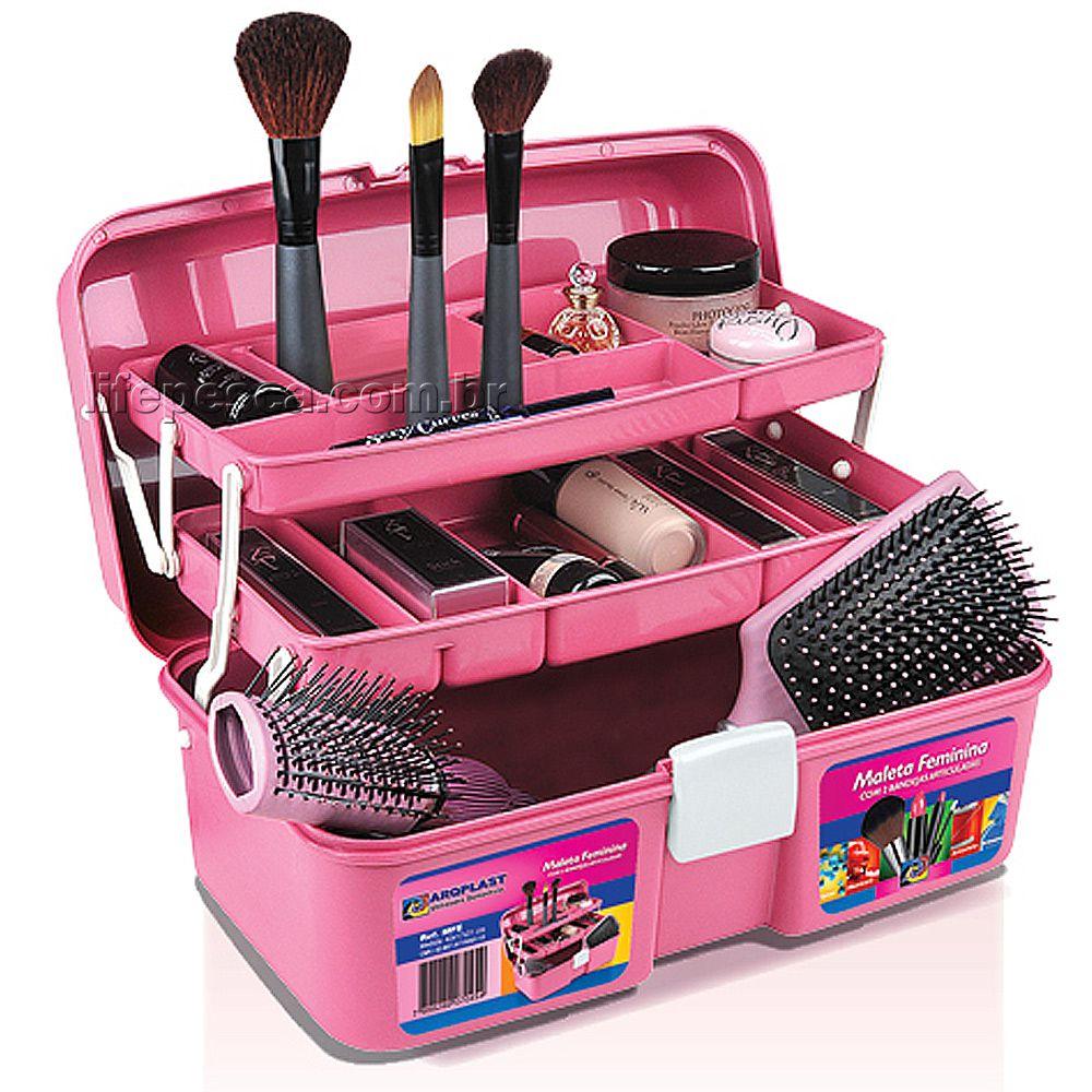 Caixa Feminina Para Maquiagens Com Bandejas Articuladas - Arqplast