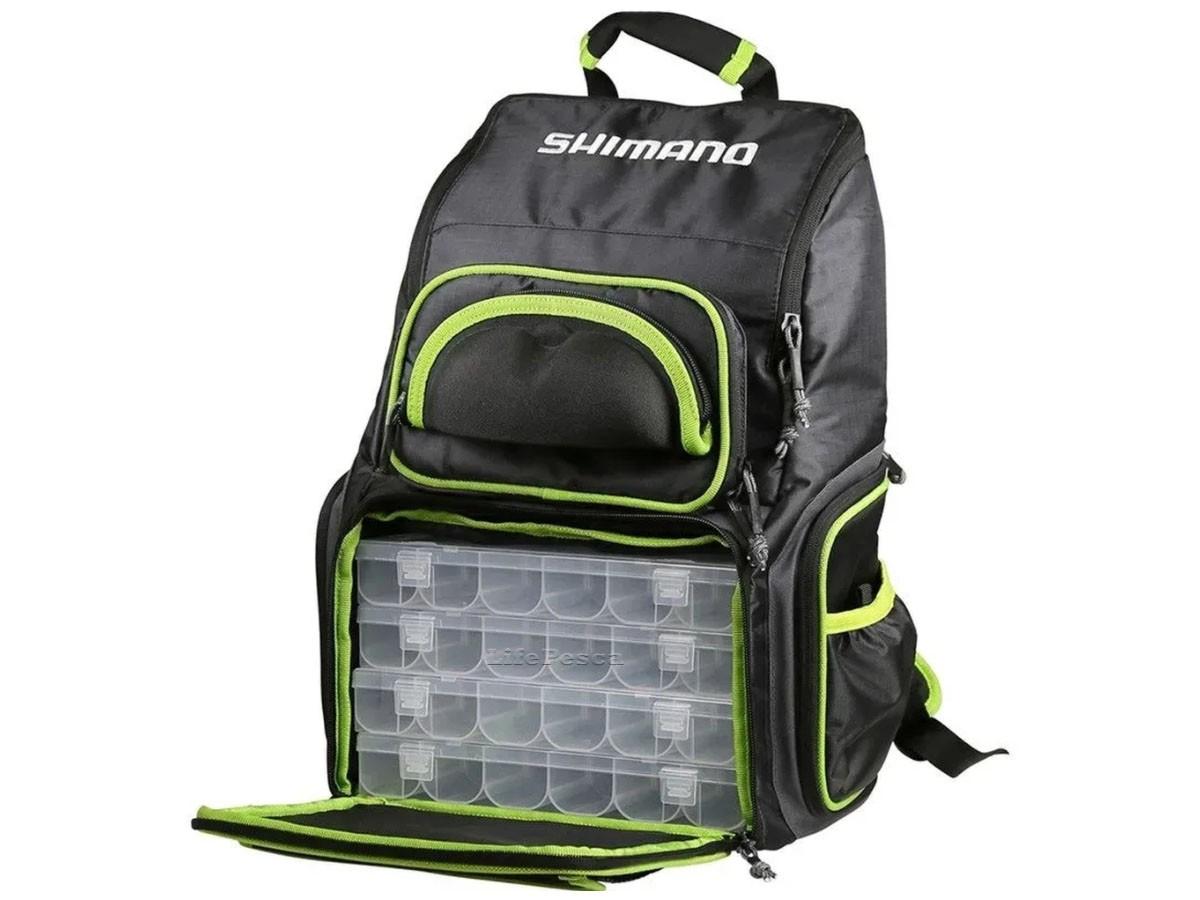 Mochila Para Pesca Shimano Back Pack Luggage XL C/ 4 Estojos - LUG 1806