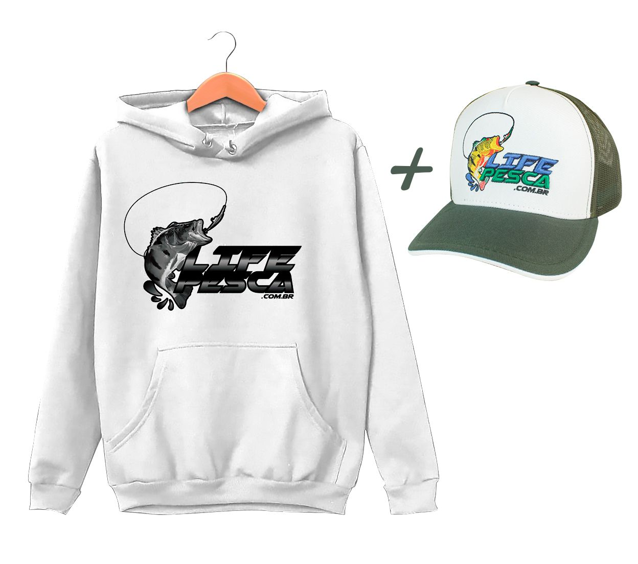 Moletom Life Pesca + Boné - Várias Cores