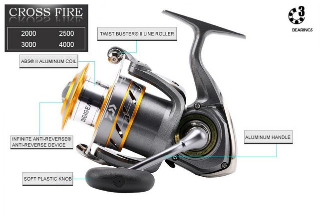 Molinete Daiwa CrossFire 2000 - 3 Rolamentos  - Life Pesca - Sua loja de Pesca, Camping e Lazer