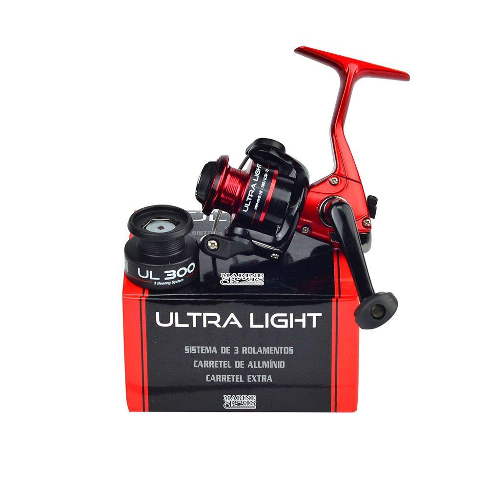 Molinete Marine Sports Ultra Light Red & Black UL300 - 3 Rolamentos  - Life Pesca - Sua loja de Pesca, Camping e Lazer