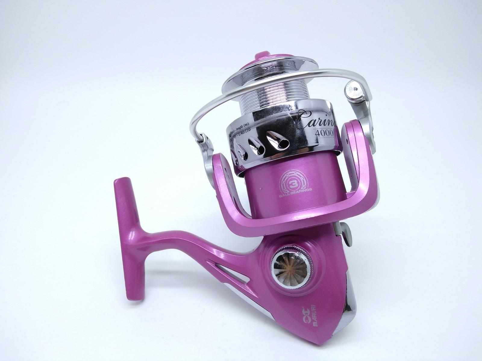 Molinete Maruri Carina 4000 Rosa - 3 Rolamentos  - Life Pesca - Sua loja de Pesca, Camping e Lazer