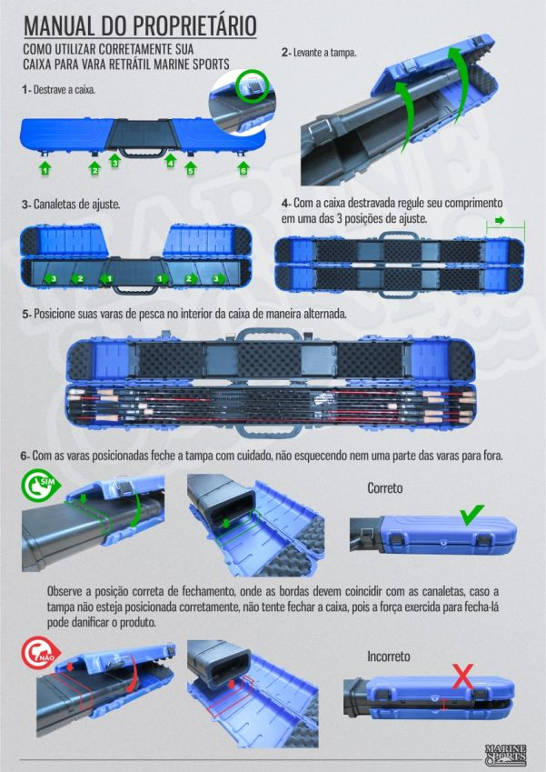 Porta Varas Retrátil Marine Sports MS-RH06 e MS-RH08 - Laranja ou Azul  - Life Pesca - Sua loja de Pesca, Camping e Lazer