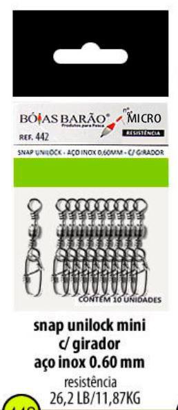 Snap Unilock C/ Girador Micro - Aço Inox 0,60mm - 10 Unidades - Bóias Barão