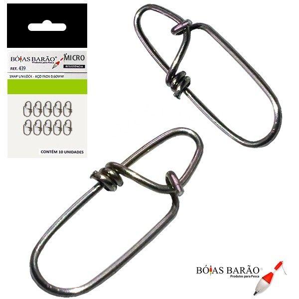 Snap Unilock Micro - Aço Inox 0,60mm Até 40kg - 10 Unidades - Bóias Barão