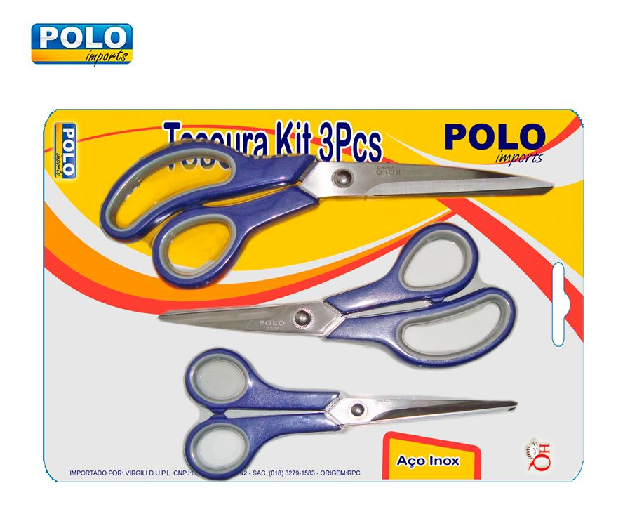 Tesoura Aço Inox Cartela Polo XV2121 - 3 Peças