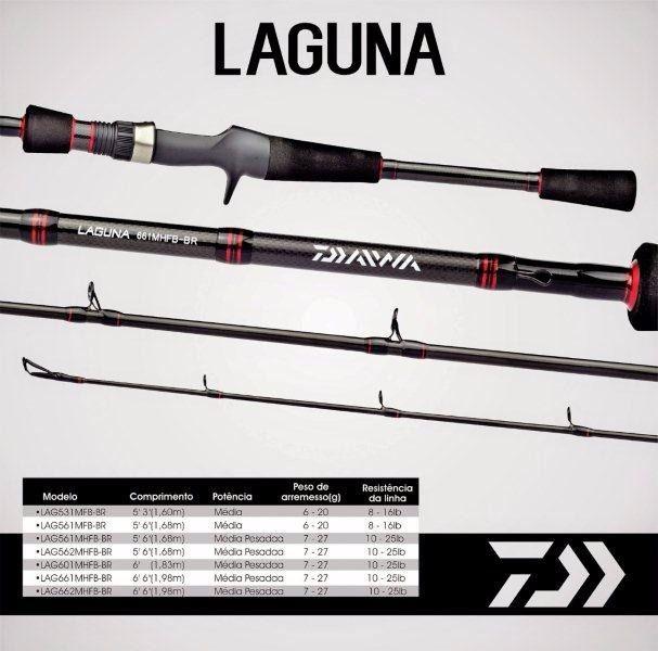 """Vara para carretilha Daiwa Laguna 5""""6"""" (1,68m) 8-16 Lbs - LAG561MFB-BR - Inteiriça  - Life Pesca - Sua loja de Pesca, Camping e Lazer"""