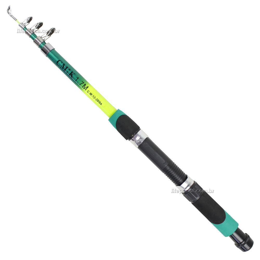 Vara Para Molinete Telescópica Com Passador C.W (1,70m) 12-20lbs - Varias Cores  - Life Pesca - Sua loja de Pesca, Camping e Lazer