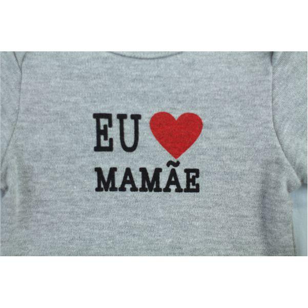 Body Manga Longa Eu Amo Mamãe Algodão Egípcio BY BIBE