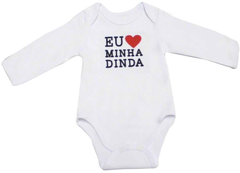 Body Bebê Básico Manga Longa Eu Amo Minha Dinda 100% Algodão Egípcio BY BIBE
