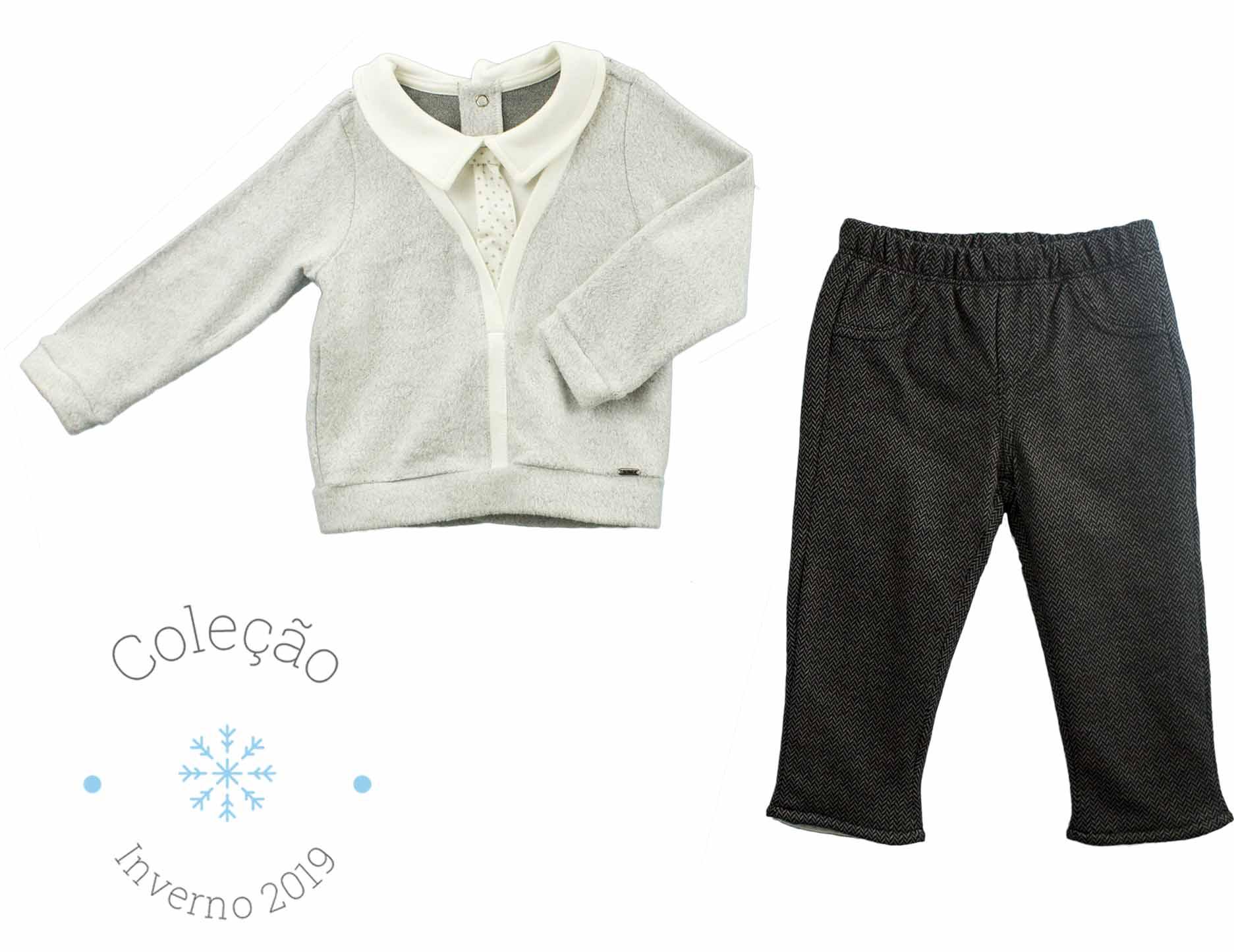 Conjunto Masculino Casaco Com Falsa Camisa Fleece + Calça