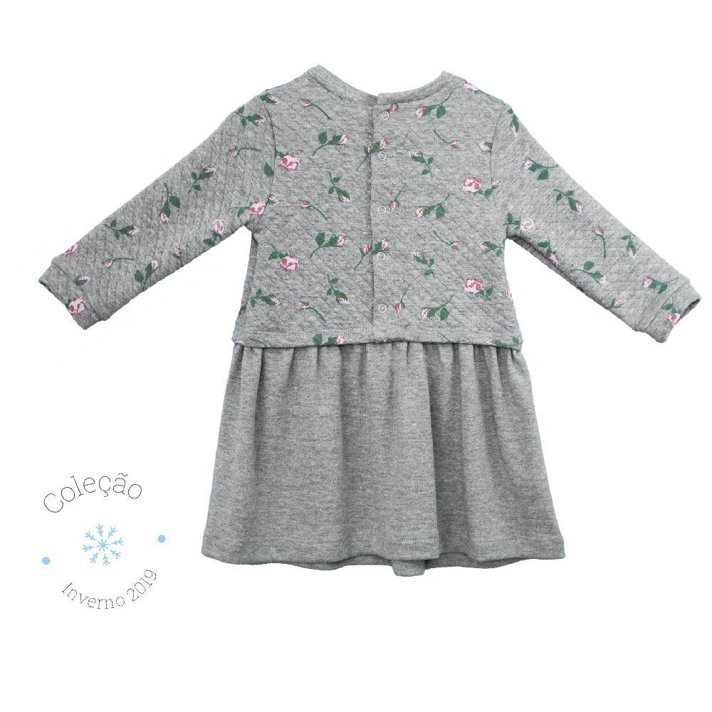 Vestido Feminino  Manga Longa Matelassê Mini Rosas Infantil