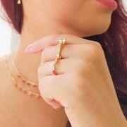 Anel Aparador Pedras Coloridas Folheado a Ouro 18k