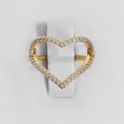 Anel Coração Largo Vazado Folheado a Ouro 18k