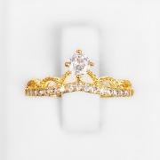 Anel Coroa Cravejada com Zircônias Folheado a Ouro 18k