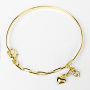 Bracelete Corações com Elo Alongado Folheado a Ouro 18k
