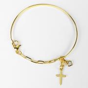 Bracelete de Cruz com Elo Alongado Folheado Ouro 18k
