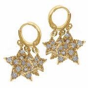 Brinco Argola Pequeno Estrelas Zircônia Folheado Ouro 18k