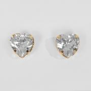 Brinco Coração Pedra Acrílica Folheado a Ouro 18k