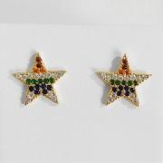 Brinco de Estrela Zircônia Colorida Folheado a Ouro 18k