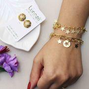 Brinco Delicado Flor com Detalhe em Micro Zircônia Folheado a Ouro 18k