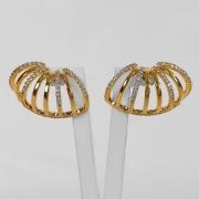 Brinco Ear Cuff Argolinhas Luxo Cravejado Folheado Ouro 18K