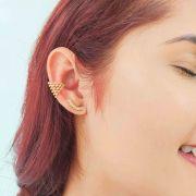 Brinco Ear Cuff Corações Folheado Ouro 18K