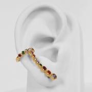 Brinco Ear Cuff Cravejado com Zircônias Folheado Ouro 18K