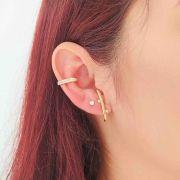 Brinco Ear Hook com Zircônias Folheado a Ouro 18K