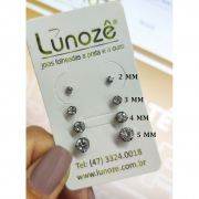 Brinco Pequeno Ponto de Luz Zircônia 2mm Banho Ródio Negro
