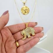 Colar Comprido Elefante com Zircônias Folheado Ouro 18k