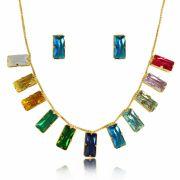 Conjunto Pedra Retangular Colors Folheado a Ouro 18k