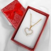 Gargantilha Coração Cravejado Zircônias Folheada Ouro + Caixa