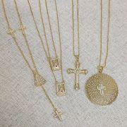 Gargantilha Mandala Pai Nosso Cruz Zircônia Folheado Ouro18k