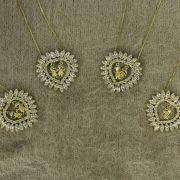 Gargantilha Mandala Zircônia Duas Meninas Folheado Ouro 18k