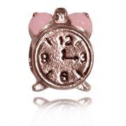 Pingente Berloque Relógio Folheado a Ouro Rosé