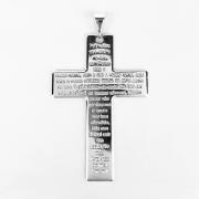 Pingente Cruz Grande Oração do Pai Nosso Folheada a Prata 1000