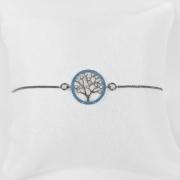 Pulseira Árvore da Vida Azul Zircônia Banho Ródio Negro