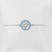 Pulseira Árvore da Vida Azul Zircônia Folheado a Prata 1000