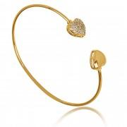 Pulseira Bracelete Corações de Zircônia Folheado a Ouro 18k