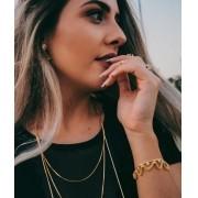 Pulseira Rendada Cravejada de Zirconia Folheado a Ouro 18k