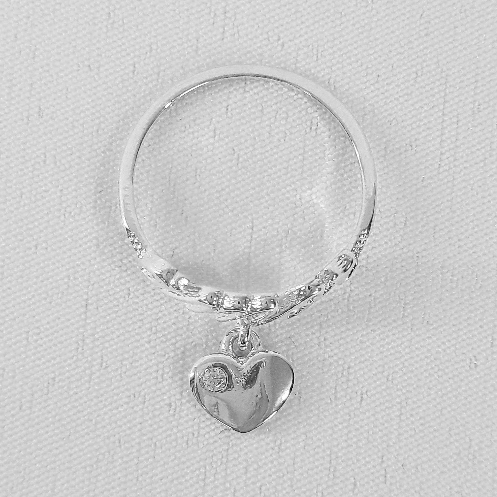Anel Amor com Pendente de Coração Folheado a Prata 1000  - Lunozê Joias