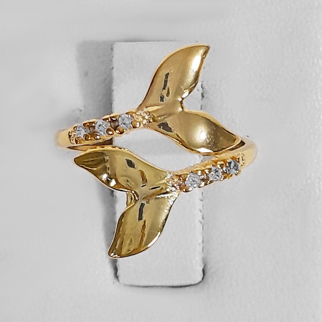 Anel Cauda de Sereia Cravejado Folheado a Ouro 18k  - Lunozê Joias