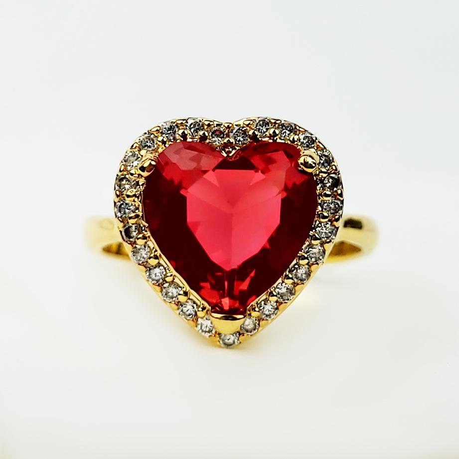 Anel Coração Central Cravejado Zircônia Folheado Ouro 18k  - Lunozê Joias
