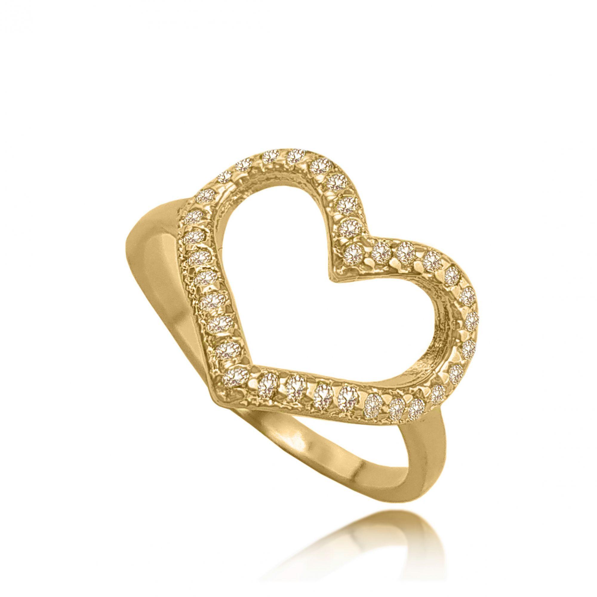 Anel Coração Enamorado Zircônias Folheado a Ouro 18k