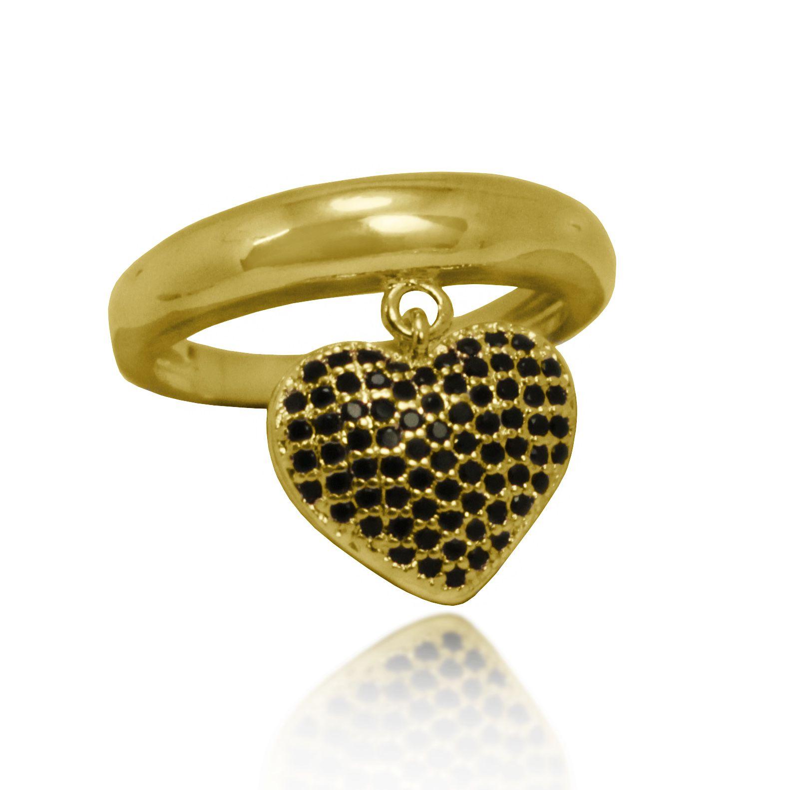 Anel Coração Pendente Pedras Cravejadas Folheado a Ouro 18k