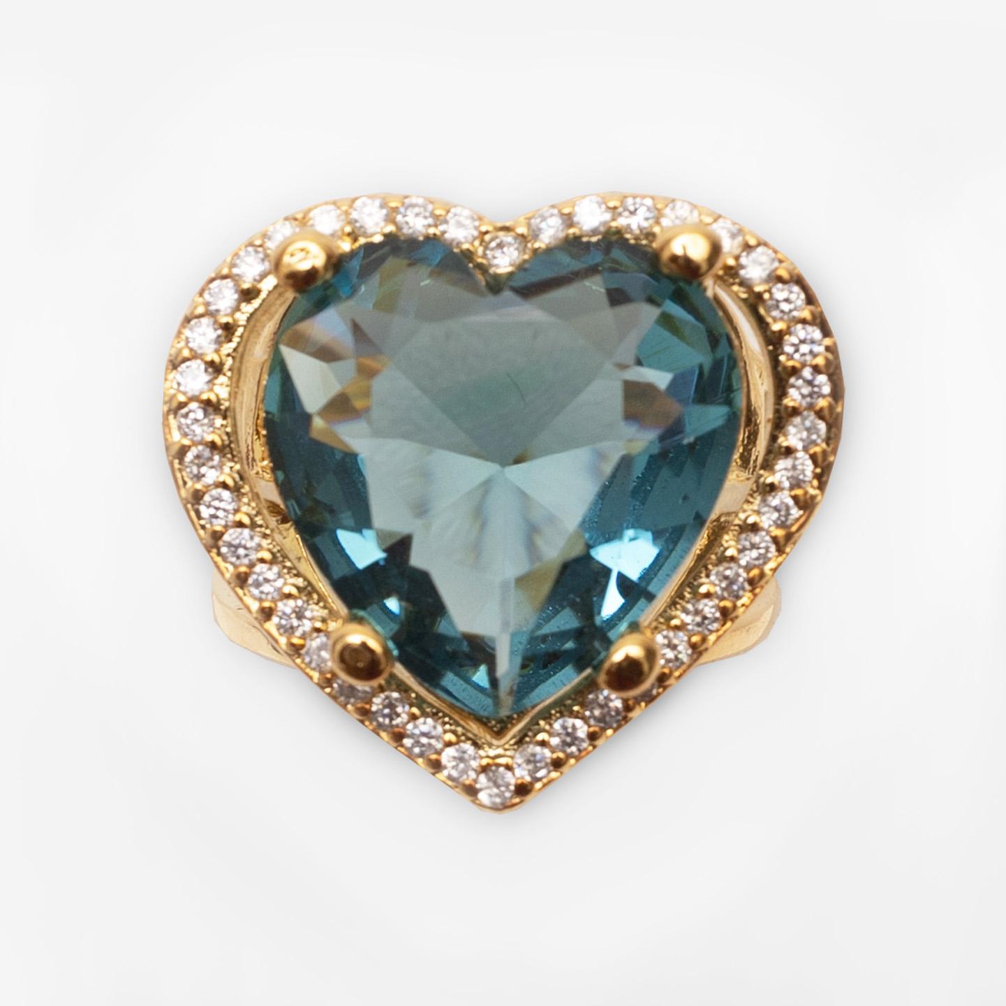 Anel Coração Grande Cravejado Zircônias Folheado Ouro 18k  - Lunozê Joias
